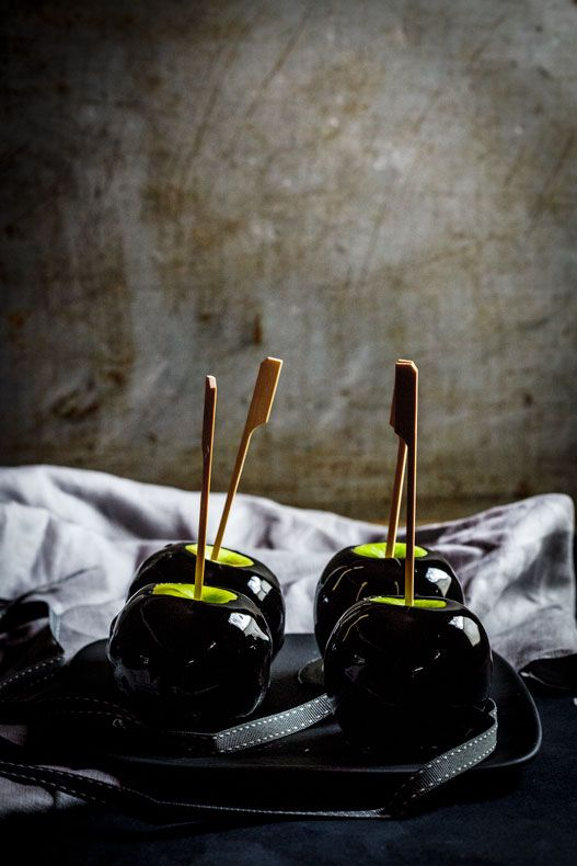 black candy/toffee apples