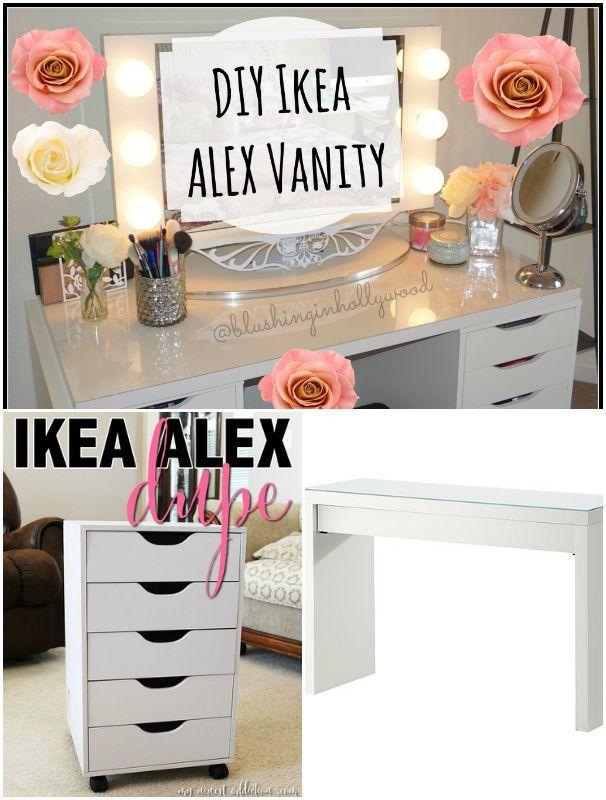 diy ikea alex vanity cheap diy makeup vanity table ideas rh pinterest com