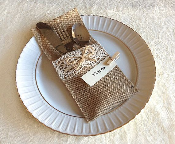 burlap and lace rustic silverware holder with table place names, wedding, bridal shower, party, baby shower table decoration