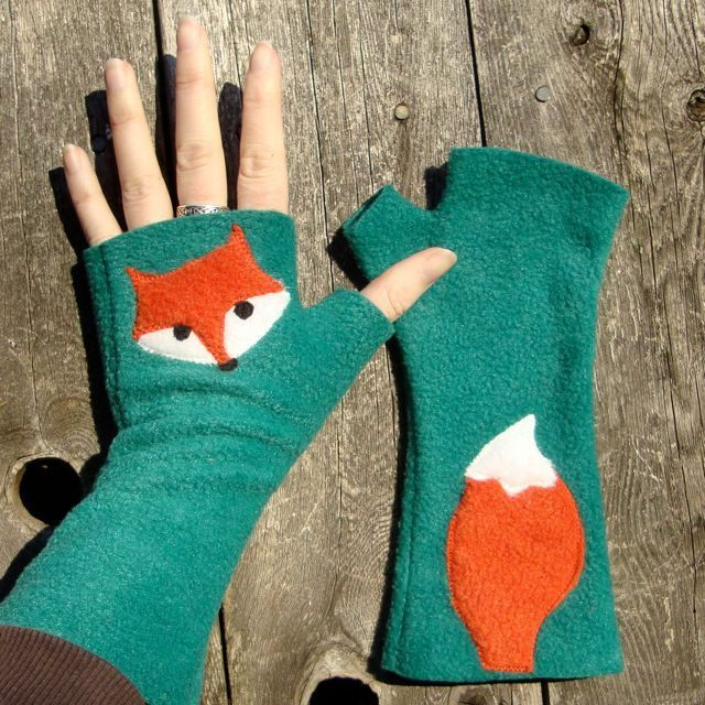 These are adorable! Red fox green fingerless gloves.
