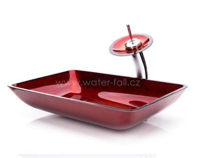 Červený umyvadlový set na desku s baterií Waterfall