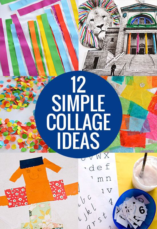 Try these 12 simple collage ideas and get a little gluey with your kids!