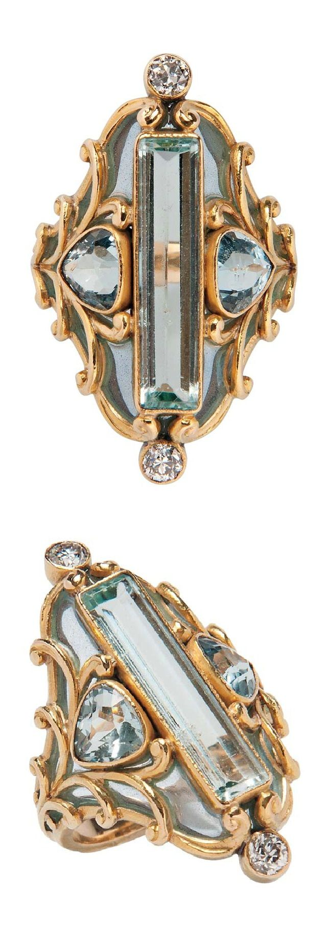 Marcus & Co. - An Art Nouveau 18kt Gold, Aquamarine, and Plique-à-Jour Enamel Ring. Centring a long, bezel-set, rectangular-cut aquamarine in a plique-à-jour enamel mount with aquamarines and old European-cut diamonds, signed.