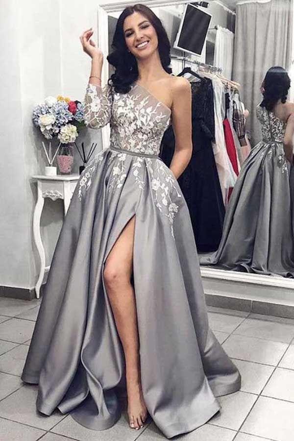 One Shoulder Long Sleeves Grey Satin Split Prom Dresses with Pockets PG752