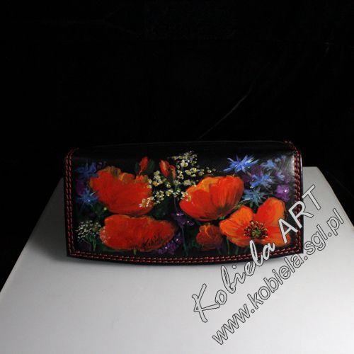 portfel skórzany damski , ręcznie pomalowany barwnikami do skór naturalnych . zapraszam , więcej  www.kobiela.sgl.pl
