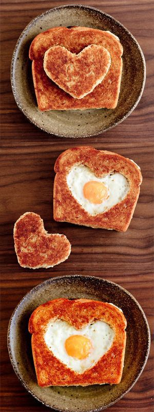 0adfc5e368a2d68417d4bd5db4b6e5a8 breakfast sandwich recipes breakfast ideas - Not all Valentine treats have to be sweet and full of sugar. This egg filled toa...