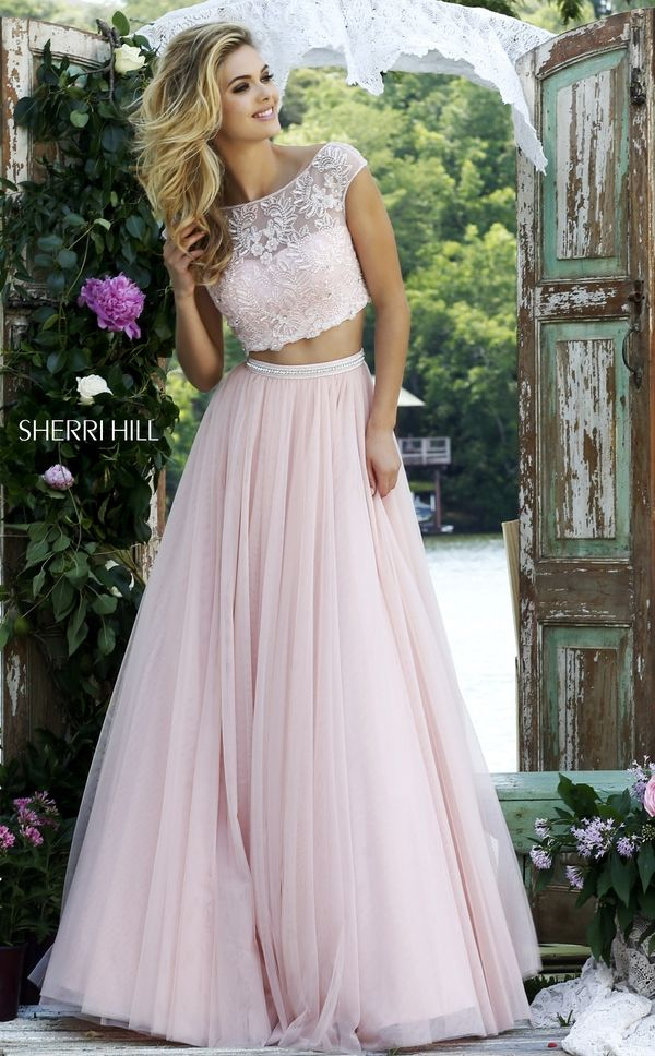 Sherri Hill 50038 Prom Dress - 2 PC, A Line, Crop Top, Illusion, Scoop, Sweetheart