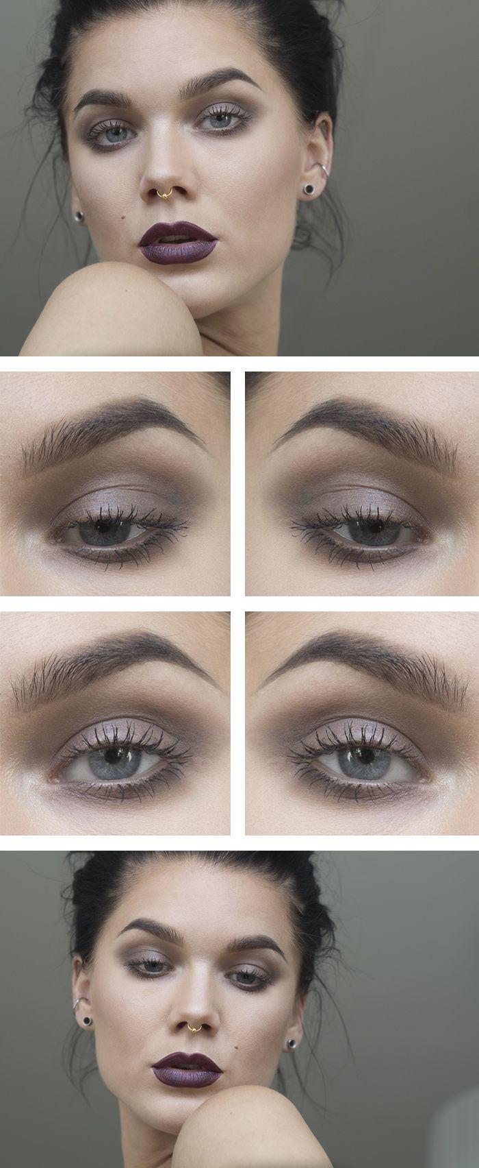 taupe eyeshadow with burgundy lips