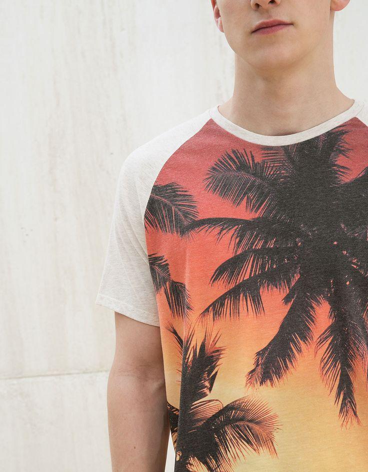 T-shirt 'Sunset' - Homem - Bershka Portugal