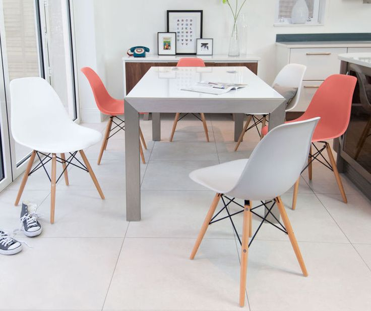 Casa White Gloss and Eames Extending Dining Set from Danetti.