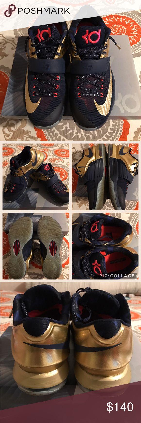 "KD 7 PRM ""GOLD MEDAL"" Excellent condition Men's size 9.5 ... KD 7 PRM ""GOLD MEDAL"" Nike Shoes Sneakers"