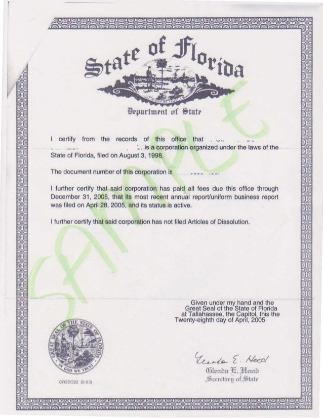Sample State Of Florida Certificate Of Incorporation Wbenc