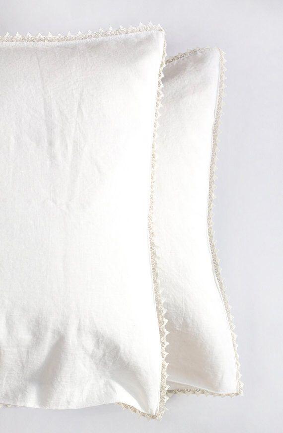 Linen pillow shams with laces, standard pillow shams, king pillow shams, european pillow shams, bed linen pillow shams by feellinen on Etsy https://www.etsy.com/listing/265490772/linen-pillow-shams-with-laces-standard
