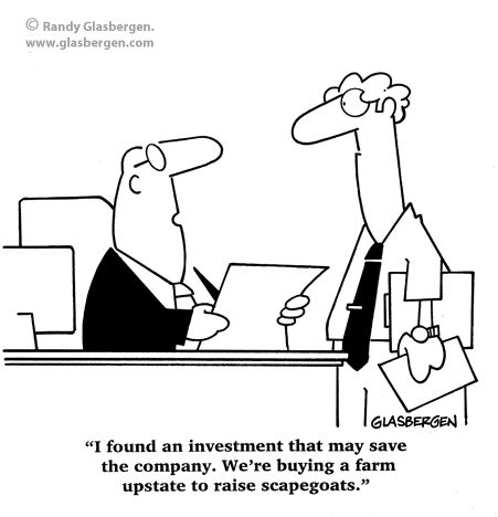 Real Estate Cartoons: scapegoat farm, business cartoons, buying property farming, buying a farm, save the company, raise scapegoats, farm upstate, scapegoats, investment, investments, farm, real estate, investment property.