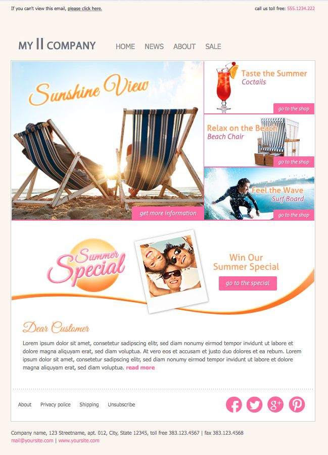 Email Newsletter Template for your Email Marketing. eNewsletter eBlast emailMarketing