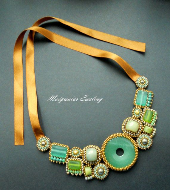 Jewel of Green Neklace with Green Jade, Nephrite and Pyrites