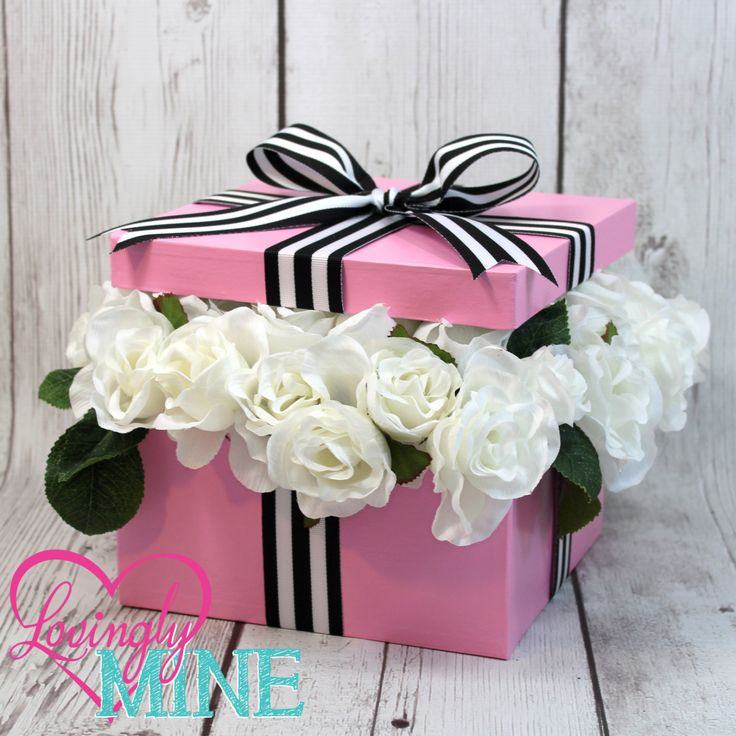bridal shower centerpieces diy%0A Baby Pink  Black  u     White Stripes White Faux Silk Roses Centerpiece Box   Perfect for any Event  Bridal Shower  Birthday  Sweet Sixteen by  LovinglyMine on