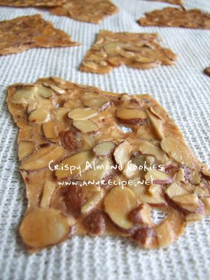 How to make Almond Cookies, Almond Thins, Very Thin Crispy Almond Cookies recipe, Thin Cookies recipe