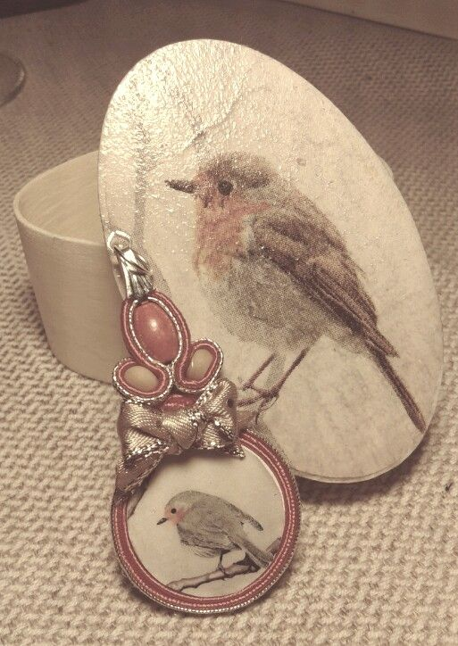 Bird pendant and box (soutache & decoupage + a little ribbon :)  )