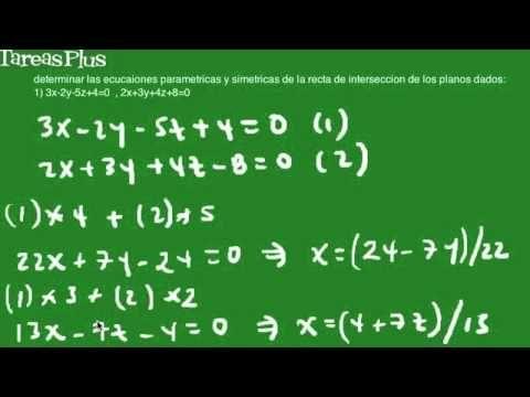 Ecuación paramétrica y simétrica recta intersección de dos planos dados