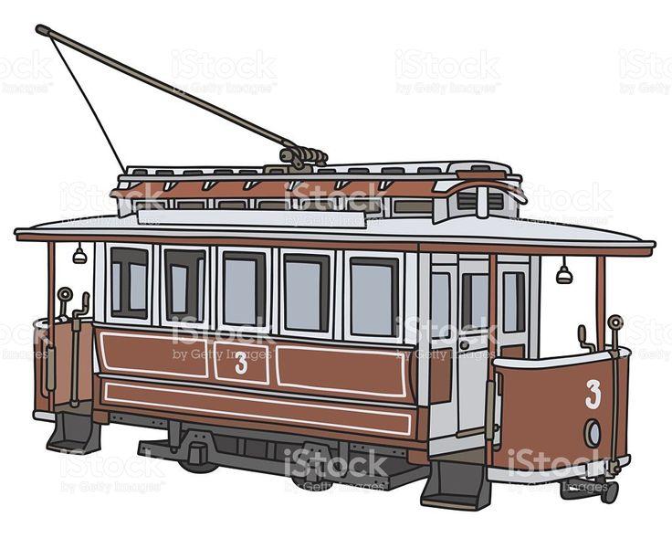 Vintage ed tramwajowych stockowa ilustracja wektorowa royalty-free