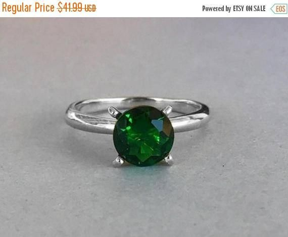 Round Natural Green Topaz Solitaire Engagement by SimplySilvery