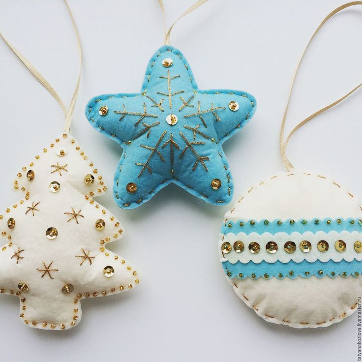 Купить Новогодние игрушки из фетра Голубая коллекция - елочные игрушки, елочные…