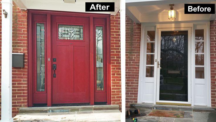 Provia Signet Craftsman Style 85 Tall Fiberglass Door Fir Skin Mountainberry Factory Paint L Craftsman Front Doors Wood Exterior Door Double Doors Exterior