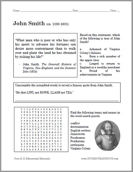 john smith bellwork worksheet free to print pdf for american history students social. Black Bedroom Furniture Sets. Home Design Ideas