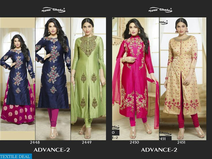 PRODUCT CODE: YOUR CHOICE ADVANCE-2 WHOLESALE ETHNIC SUITS SUPPLIER Catalog pieces: 4 Full Catalog Price: 3580 Price Per piece: 895 MOQ: Full catalog Fabrics detail Top :- Glace cotton Bottom :- lawn cotton Dupatta :- naznin Work :- Embroidery   D.no 2448  printed Skirt and Bottom Both Shipping Time: 4-5 days Sizes: Semi Stich  VISITE OUR WEBSITE- http://webfab.in/wholesale-product/Salwar-Suits/your-choice-advance-2-wholesale-ethnic-suits-supplier-your-choice-advance-2-full-catal
