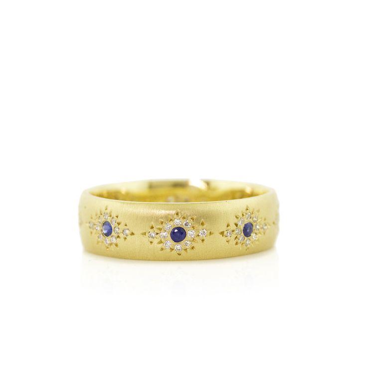 Blue Saphire Shimmer band by Adel Chefridi #adelchefridi #askindredspirits #bluesapphirejewelry #weddingbands