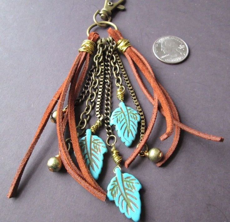 Tribal Boho Purse Charms Tassel zipper pull key fob belt clip Handmade OOAK #Handmade