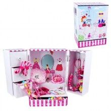 """Little girls will love this gorgeous wardrobe style white/pink/blue musical jewellery box decorated with the Eiffel Tower, girls, poodles, shoes and handbags. Open the two doors to reveal three drawers in the left door and to hangers in the right hand door.  There is an oval mirror inside and a little ballerina who twirls to the music of """"The Sorcerer's Apprentice"""".  Quality wooden music box with two hinged doors and a larger storage drawer at the bottom.  Size: 15cm W x 21cm H x 12cm D"""