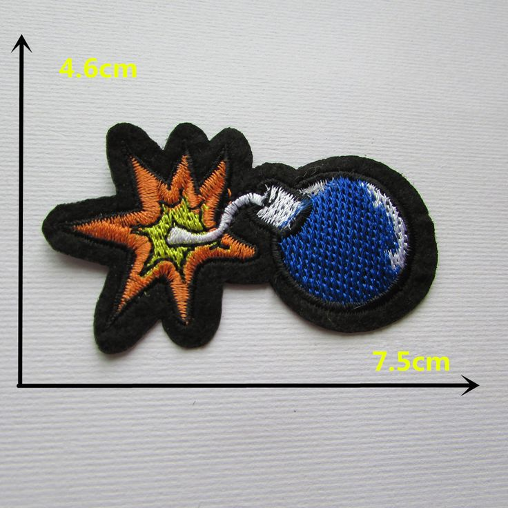 Cartoon characters blue bomb t hot melt adhesive dress applique embroidery patch DIY clothes shoes accessories patch 1 PCS C334