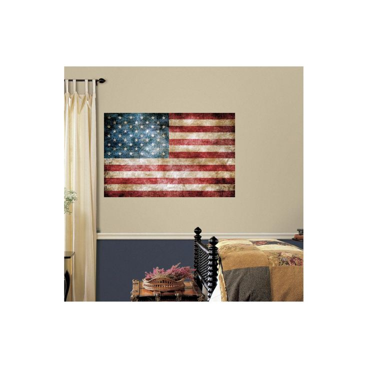 RoomMates Vintage American Flag Peel and Stick Giant Wall Decals,