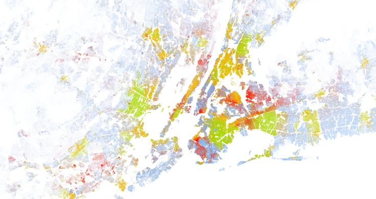 US 2010 census data on race for NYC Metro Area. Each dot is a person and its colour is defined by race. Blue = white, Green = black, Red = asian, Orange = hispanic, Brown = others