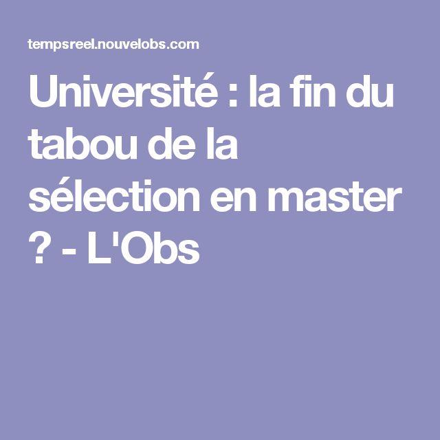 Université : la fin du tabou de la sélection en master ? - L'Obs