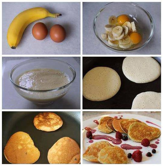 Quick and easy banana pancakes. The whole batch would only be 230 calories.