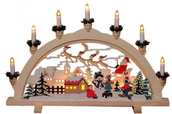 Holzleuchter mit Weihnachtsdorf-Motiv, 7-flammig, 38 x 57 cm www.westfalia.de