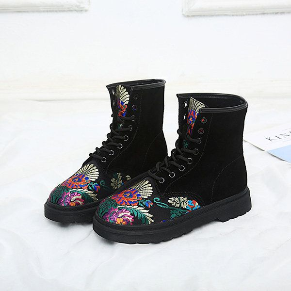 SOCOFY Retro Printing Pattern Ankle Flat Leather Boots