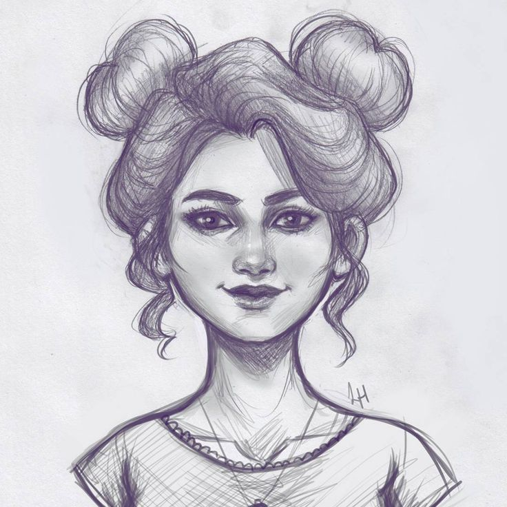 Pencil sketch! As much as I draw girls with space buns, I ...