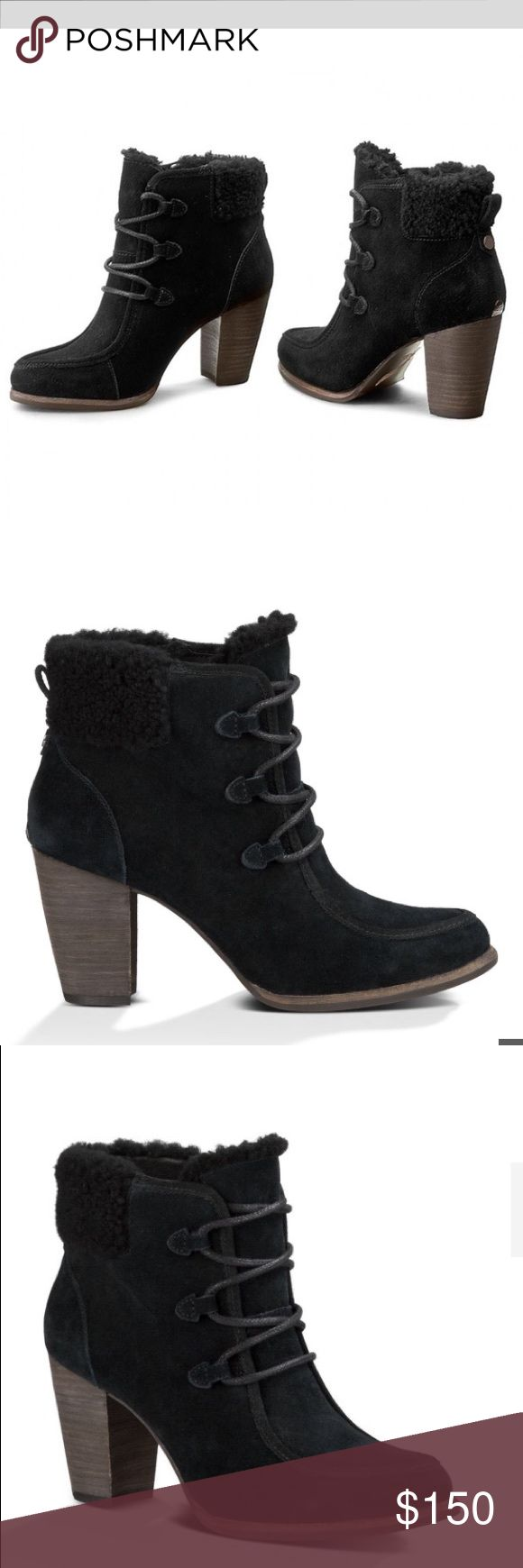 """Women's Australian UGG 'Analise' Black, 8.5 Women's Australian UGG 'Analise' Heeled Platform, Black, 8.5 SN 1008620. Model: 1008620 Modeled on traditional hiking boots, the Analise fashionably incorporates ghillie lace keepers and a curly sheepskin cuff on luxe suede. All of this sits comfortably on a cushioning insole, stacked heel, and rubber outsole. Details: Suede Lined with sheepskin 3"""" heel ¼"""" platform Rear pull tab Sheepskin cuff and tongue lining PORON® foam insole lined with leather…"""