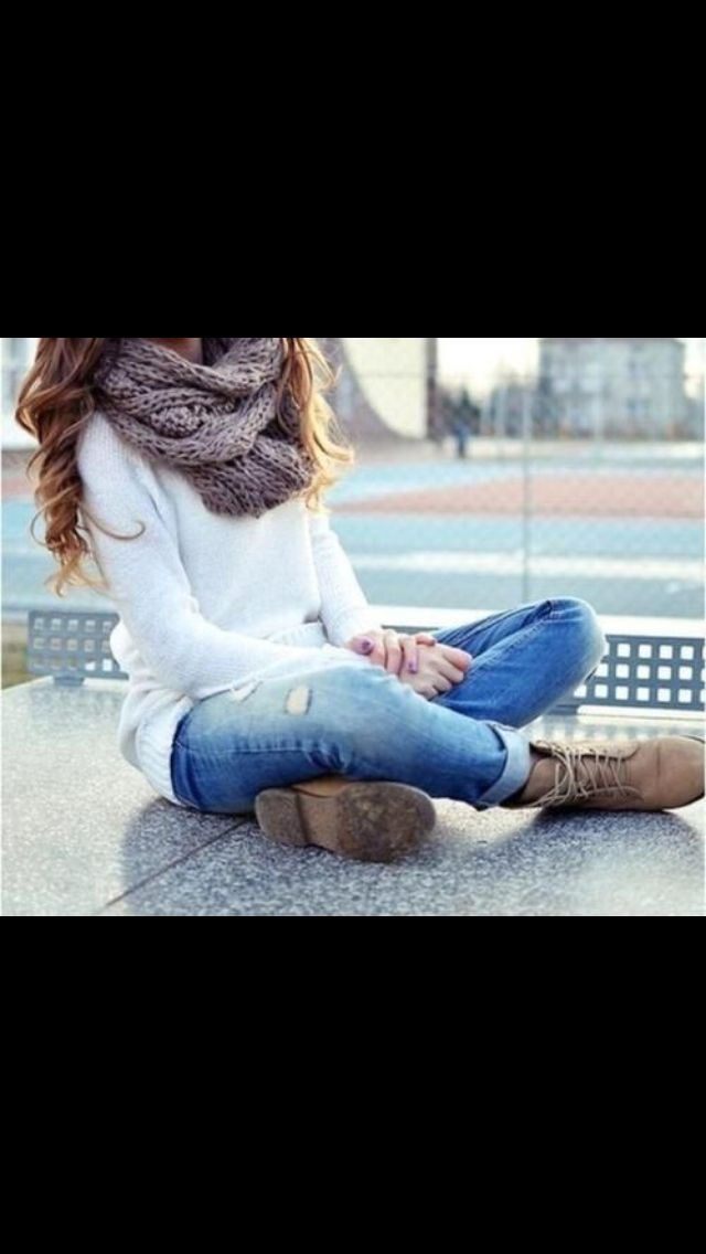 So so so cute. Big cream-colored infinity scarf, long white-sleeved shirt, simple jeans, and short lace-up boots