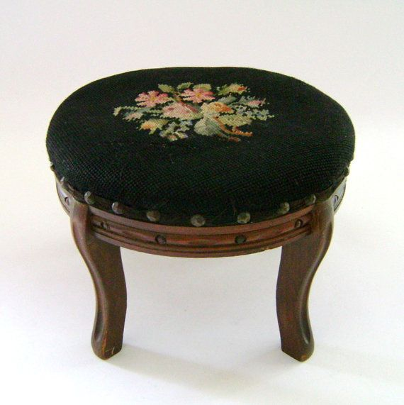 Charming Needlepoint Foot Stool