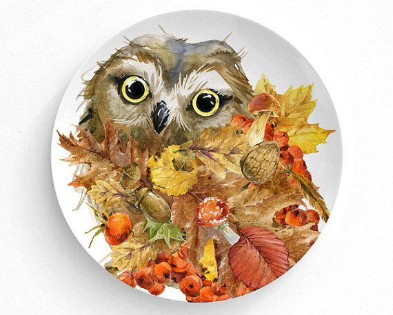 Melamine Plate, Plate, Decorative Plate, Plates, Wall Decor, Home Decor,  Melamine Dinner Plate, Animal, Thanksgiving Decor, Owl, Fall
