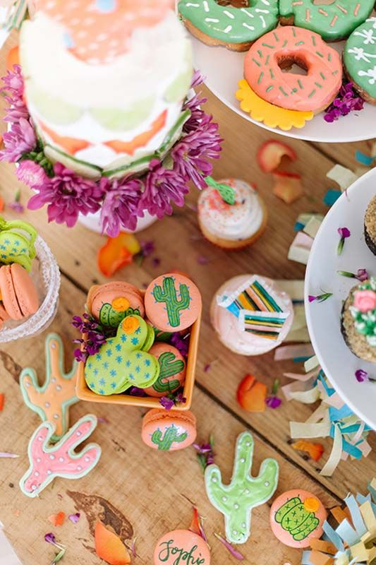 Desert-Inspired Desserts | Cactus and Taco Cupcakes | Macarons | Colourful Dessert Table | Mexican Fiesta Party Ideas | Kids Party Inspiration | HOORAY! Mag