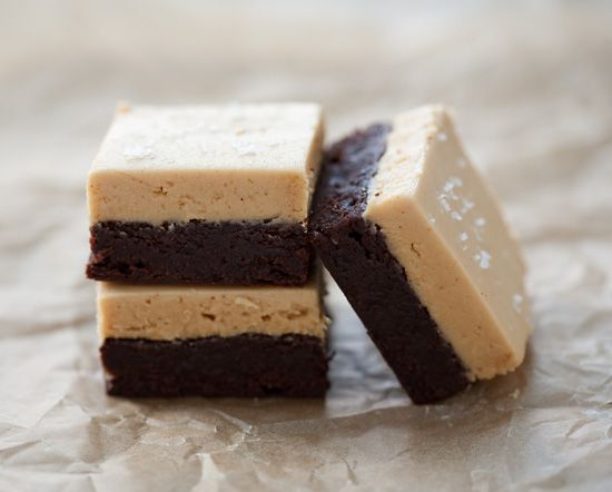 Peanut Butter and Fleur de Sel Brownies: Peanuts, Fun Recipes, Mmmmm, Flower, De Sel, Brownie Slice, Peanut Butter, Peanut Butter Brownies