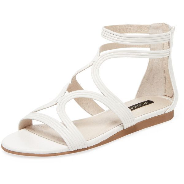 Ava & Aiden Women's Mod Leather Gladiator Sandal - White, Size 10 ($66) ❤ liked on Polyvore featuring shoes, sandals, white, leather sandals, white sandals, gladiator sandal, white shoes and greek sandals