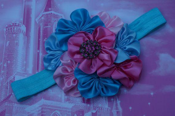 Цветы повязка, розовый оголовье, лаванда лук, серый оголовье, Атласные цветы, цвета слоновой кости заставку, Грейс, Baby Малыш Ребенок Девушки головная повязка