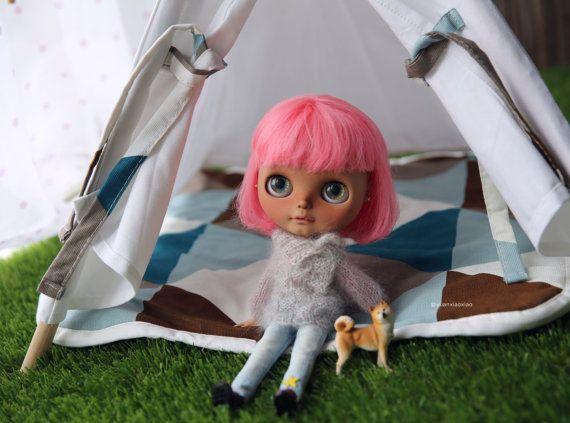 Yuanu0027s Blythe Teepee Sets (Tent ,Banner, Mattress) Doll/Jerryberry/Blythe